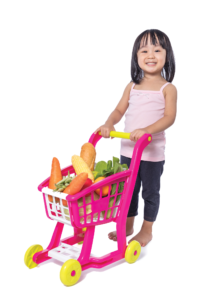 Child pushing cart