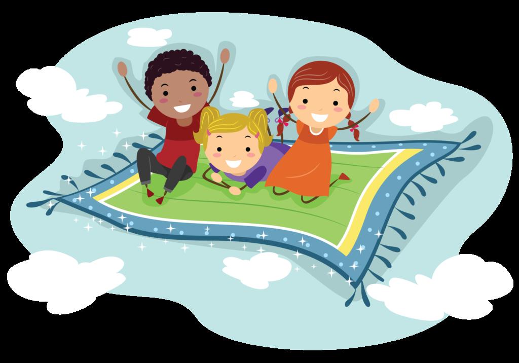 Children on flying rug