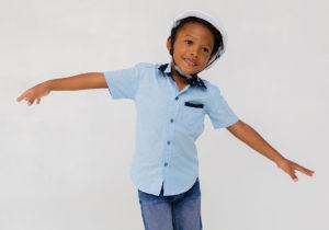 Child imitating flying