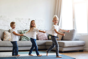 Children imitating train