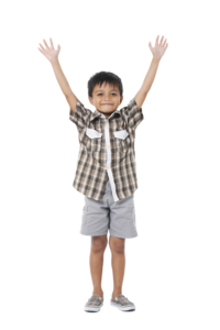 Standing child with hands raised