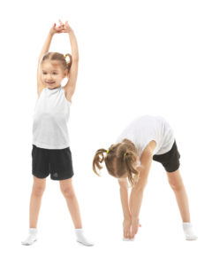 Child bends and stretches