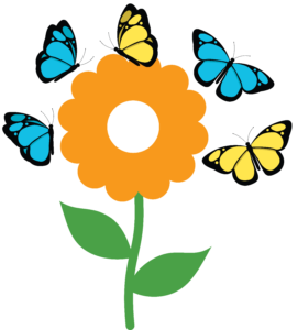 Butterflies circling a flower