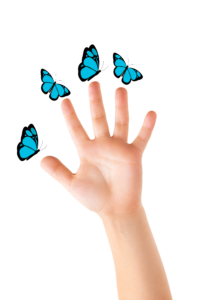 Five fingers and 4 butterflies