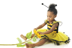 Child in bumblebee costume