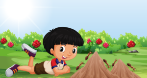 Child in garden with ants