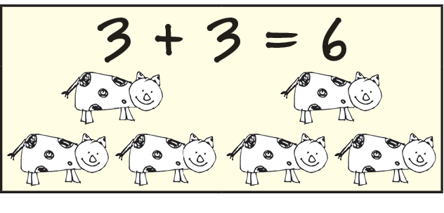 3+3=6 and 6 Cows