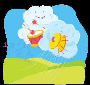 Cartoon thunderstorm
