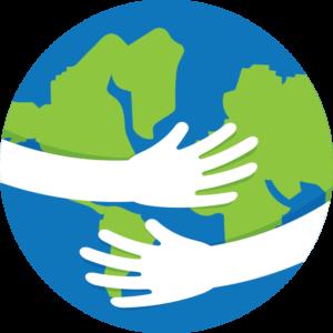 Arms around a globe