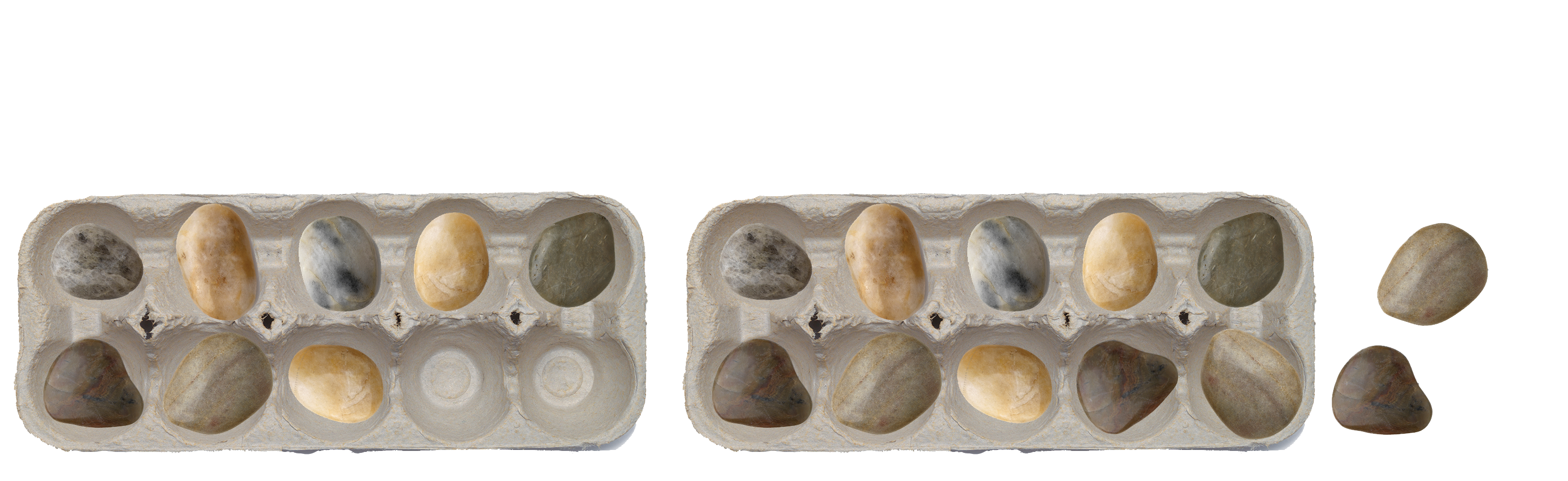 Egg cartons and stones