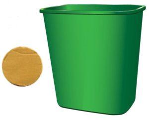 Cardboard circle and plastic bin